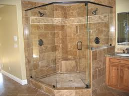bathroom beautiful double head shower on brown marble walk in