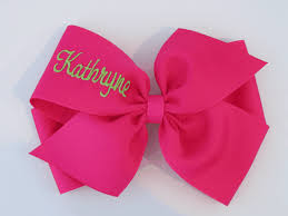 cursive personalized monogrammed hair bow hairbow xlg big bows