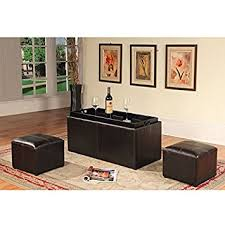 Ottoman Coffee Table With Storage Amazon Com Roundhill Furniture Espresso Bonded Leather Storage