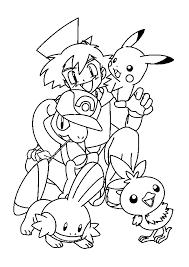 coloriage amusant de sacha et de ses pokémons pokémon