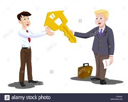 man buying a house real estate agent handing over the key vector