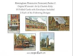 watercolor notecards 4209 birmingham watercolor notecard set packet 2 poppyseed paper