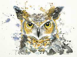 owl item watercolor owl print splatter painting unique gift
