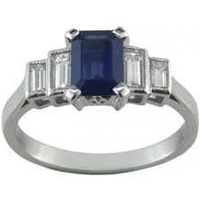 emerald cut sapphire ring with baguette diamonds
