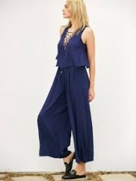 palazzo jumpsuit layered lace up palazzo jumpsuit cadetblue jumpsuits rompers s