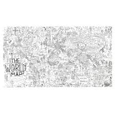 World Map Duvet Cover by Large World Map Coloring Poster The Land Of Nod