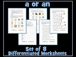 set of 8 differentiated worksheets on the articles determiners