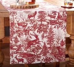 pottery barn table linens alpine toile table runner pottery barn