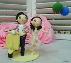 vespa wedding cake topper clay doll yellow wedding theme clay