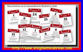 calendario imss 2016 das festivos días festivos en la comunidad de madrid 2016