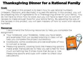 thanksgiving dinner for a rational family middle school math project