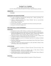 Resume Psychology Consultant Resume Nd