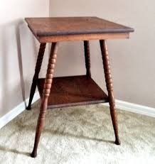 antique spindle leg side table antique vintage oak wood 2 tier l parlor side table with turned