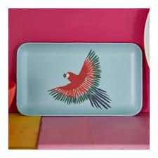 plateau de cuisine plateau de cuisine motif perroquet petit modèle bleu monoprix