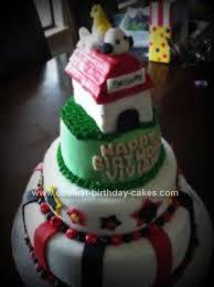 cool homemade snoopy birthday cake