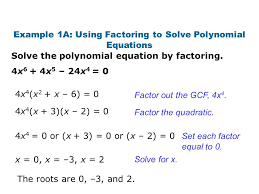 example 1a using factoring to solve polynomial equations