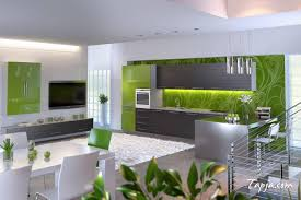 fresh green models of stickers for kitchen with amazing lighting