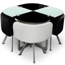 table avec chaise encastrable menzzo p803 contemporain mosaic 90 table et chaises métal verre noir
