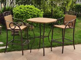 High Bar Table Set 3 Piece Wicker Patio Set Chair Bar Set And High Bar Table 3 Piece