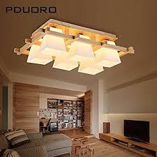 Japanese Ceiling Light Yposion Wooden Korean Style Living Room Light 6 Head Light Wooden