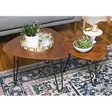 wood nesting coffee table amazon com we furniture hairpin leg wood nesting coffee table set