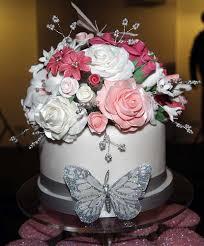 pink and silver wedding cake sugar posy sugarposy flickr