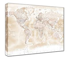 Canvas Map Of The World by Map Canvas Political World Map Antique From Love Maps On