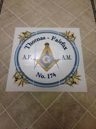 custom floor tile medallion printed with logo for masonic lodge in