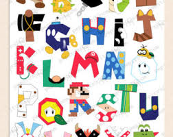 print ink super mario bros alphabet poster wall art 8x10