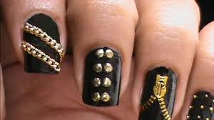 garage chic biker studded nails art designs zip nail water