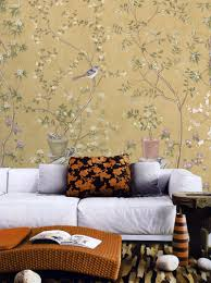 vintage taupe chinoiserie wallpaper flower branch birds peach zoom
