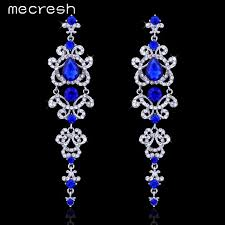 hanging earrings mecresh blue silver color chandelier earrings for