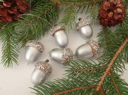 Silver Glitter Christmas Tree Decorations by 6 Real Acorn Christmas Tree Ornaments Silver With Silver Glitter
