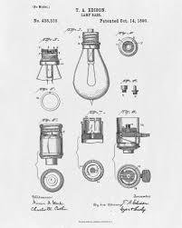 edison light bulb invention light bulb blueprint edison invention poster electrical patent print