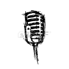 vector hand drawn studio microphone and stars royalty free
