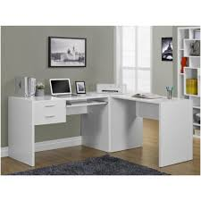 white l shaped corner computer desk with hanging drawers and
