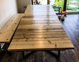 steel and wood table tables hand craft furniture