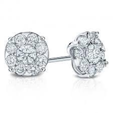 diamond cluster earrings prong set diamond cluster earrings from diamond studs