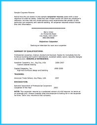 Carpenter Resume Examples by Sample Carpenter Resume Objective Virtren Com
