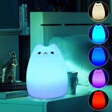 Led Bedside Lamp Multicolor Color Changing Silicone Cat Kitten Led Night Light