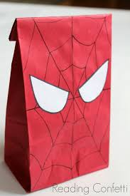 diy spiderman party reading confetti