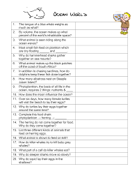 oceans of the world worksheets ocean world the blue planet