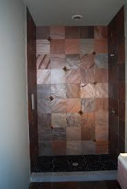 a shower i designed with copper quartzite field tile slate