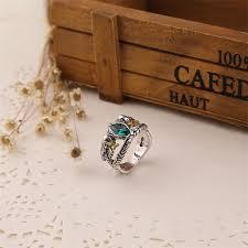 aragorn ring of barahir vintage retro antique silver green crystal