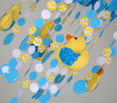 duck decorations rubber ducky crib mobile yellow turquoise nursery decor baby