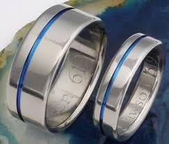 blue titanium wedding band original thin blue line titanium wedding band set matching