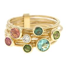colored gemstone rings images 0 07 ct diamonds 14k yellow gold 7 connected rings multi color jpeg