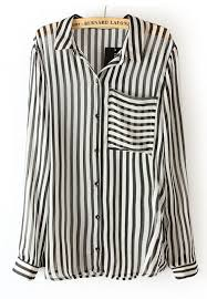 black and white blouses black white vertical stripe sleeve chiffon blouse sheinside