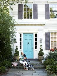 exterior doors and landscaping turquoise door purple gray and