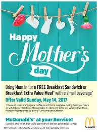 moms eat free at mcdonald u0027s on mother u0027s day malled